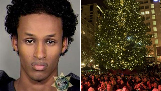 Christmas tree bomber and crowd